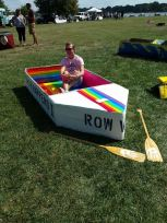 Taylor Frey Hanging out in his Cardboard Boat.