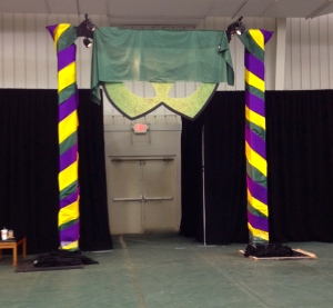The giant mask entrance that will soon be covered with 150 balloons