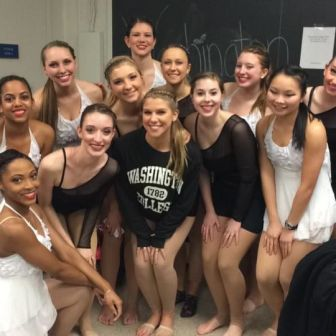 The girls get ready to perform Emily Harris' dance