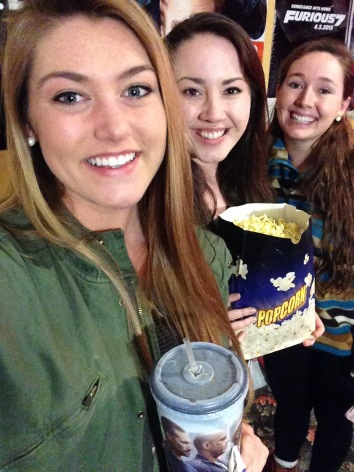 Hailey, Katie, and Brooke get ready to enjoy the movie