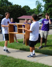The Men's Soccer team had a lot of work to do moving students into Minta Martin