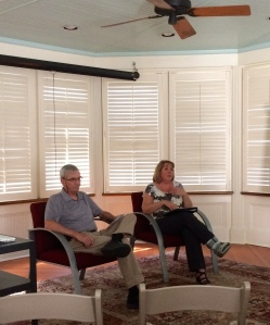 Jerry and Sue lead a discussion on the Literary House porch
