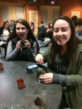 Gabby Leach and Katie Gordon have fun plotting their succulents