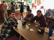 Bothers of KA George Roros'18, Zach Domenech'18, and Pat Elliot'18 wait for people to come support the event